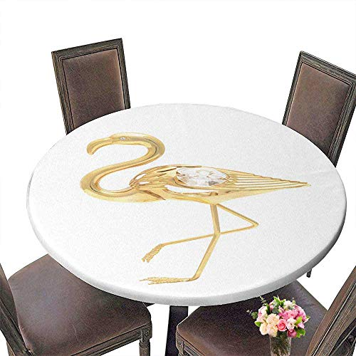 PINAFORE Picnic Circle Table Gold Brooch Flamingo Isolated on White for Family Dinners or Gatherings 55