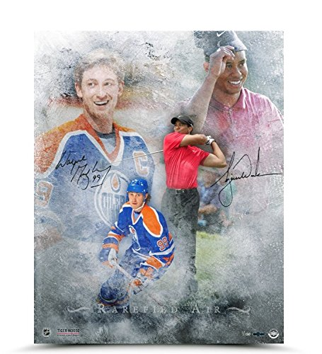 (WAYNE GRETZKY & TIGER WOODS Dual Signed Rarefied Air Print LE of 100 UDA.)