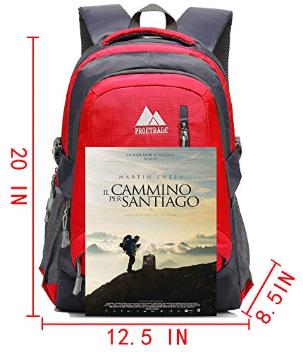 School Backpack BookBag For College Travel Hiking Fit Laptop Up to 15.6 Inch Water Resistant (Red) by ProEtrade (Image #3)