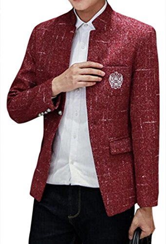 Jofemuho Men Chinese Tunic Suit Single Button Stand Collar Regular Fit Blazer Jacket Coat Wine Red M
