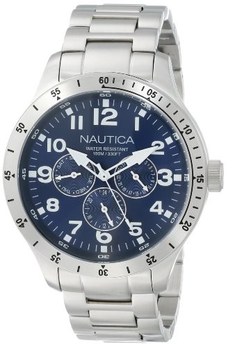 Nautica Men's N14672G BFD 101 Silver-Tone Stainless Steel Bracelet Watch