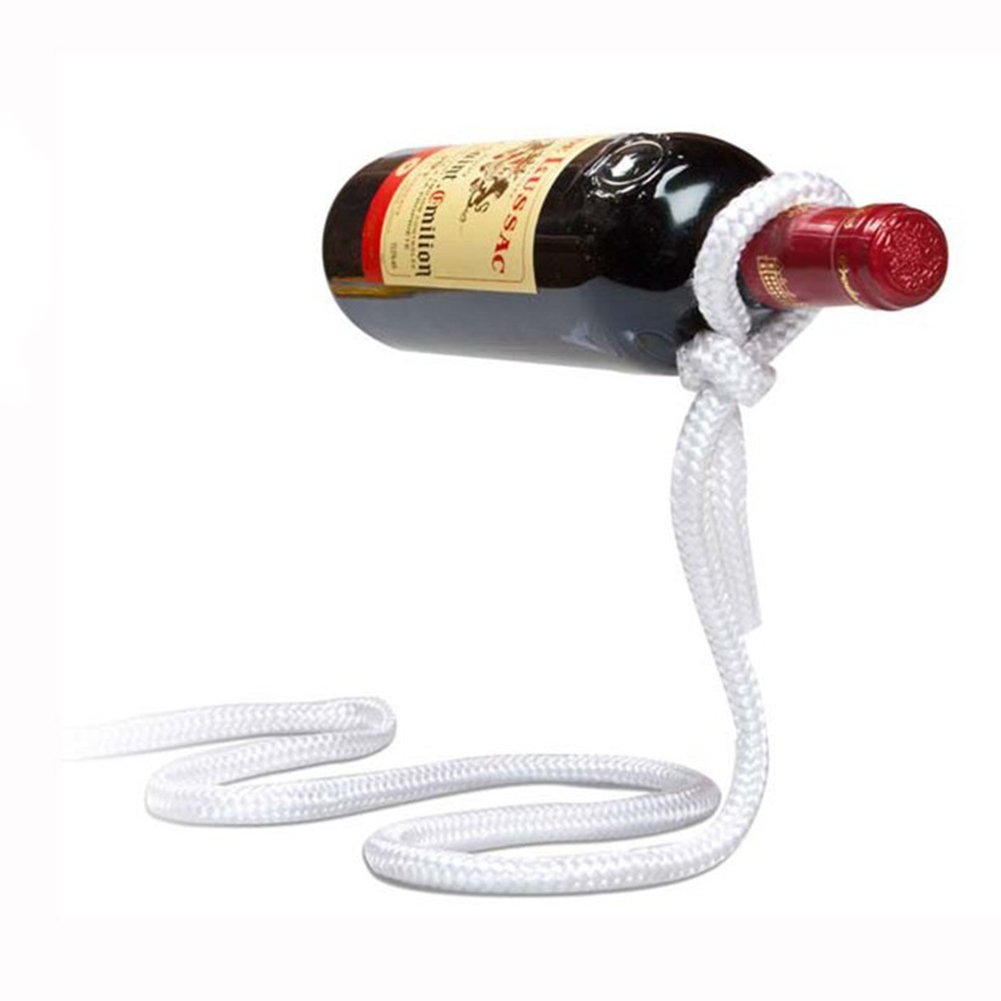Betan Magic Wine Bottle Rope Lasso Holder - Holds Bottles Floating In the Air(white)
