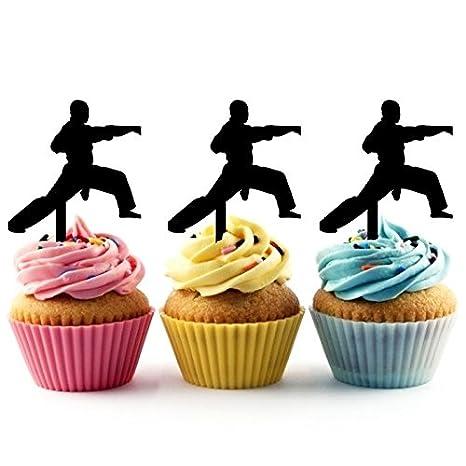 TA0034 Karate Silhouette Party Wedding Birthday Acrylic Cupcake Toppers Decor 10 pcs