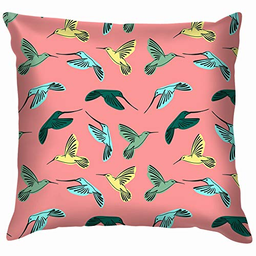 Birds Hummingbird Animals Wildlife Funny Square Throw Pillow Cases Cushion Cover for Bedroom Living Room Decorative 12X12 Inch