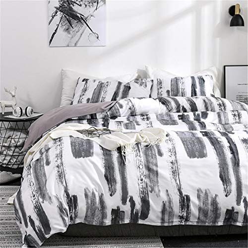 Art Bedding Duvet Cover Set Black White Painting Queen 3 Piece - Luxury Microfiber Comforter Quilt Cover with Zipper Closure (Black Duvet Set White And)