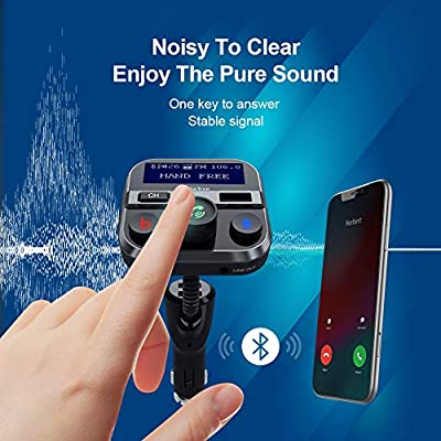 Bluetooth FM Transmitter for Car, PaiTree Car Adapter with Super Bass Stereo Sound, QC3.0 Fast Charger 5.0 Bluetooth Receiver Wireless Radio Music Player Car Kit Hands-Free Calls Siri Assistant: MP3 Players & Accessories
