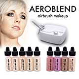 make up kit for starters - Aeroblend Airbrush Makeup Personal Starter Kit - Professional Cosmetic Airbrush Makeup System - LIGHT Foundation - Color Match Guarantee - Full 1-Year Warranty