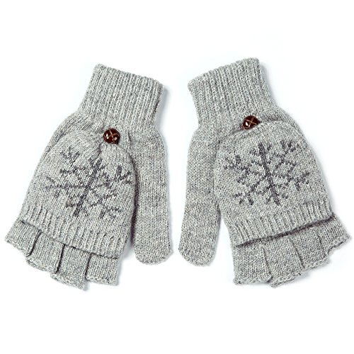 Metog Women Warmer knitted Winter Fingerless Gloves Mittens Grey