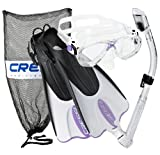 Cressi Palau Mask Fin Snorkel Set with Snorkeling Gear Bag, Lilac, S/M | (Men's 4-7) (Women's 5-8)