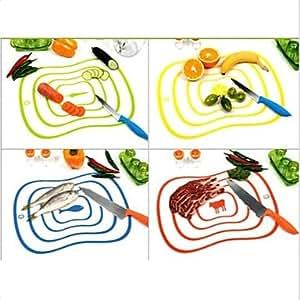 JIAO- Flexible Ultra-thin Kitchen Tool Fruit Vegetable Cutting Chopping Board Mat Random Color