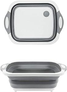 Ahyuan Collapsible Dish Drying Storage Rack Multifunctional Cutting Board Portable Dish Pan Washing Basin Foldable Camper Strainer Wash and Drain Dish Tub Drainer Basket (11.8''Wx15.8''L)
