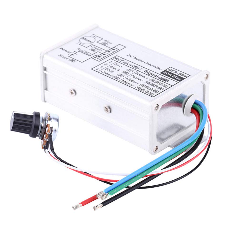 Refaxi 9-60V Max 20A PWM DC Motor Stepless Variable Speed Controller Switch