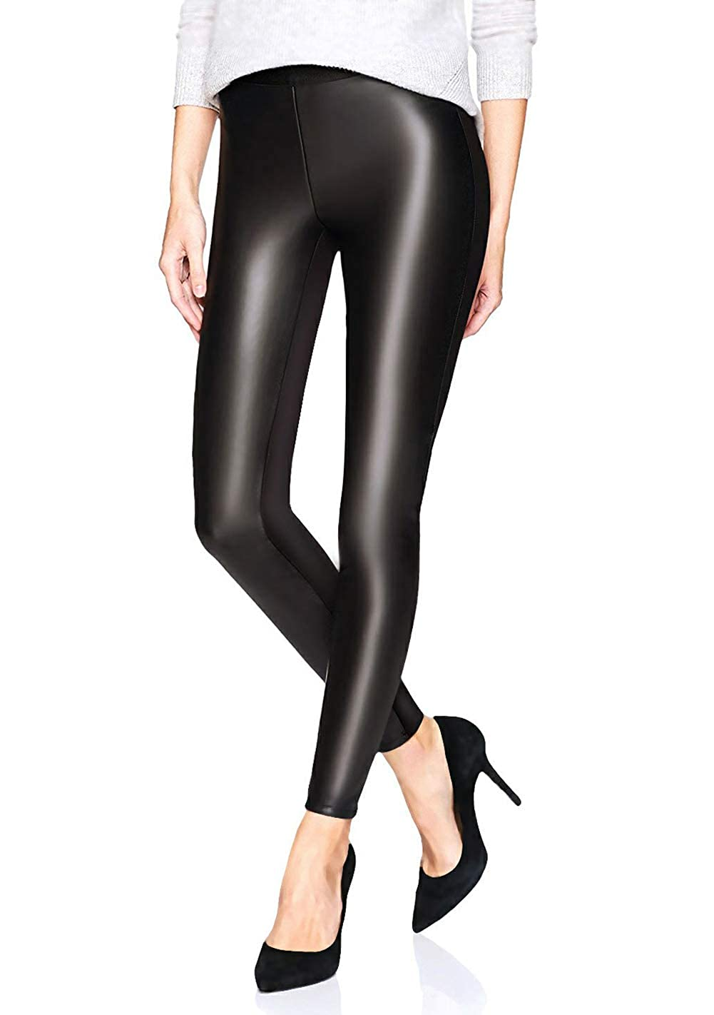 Women's Black Faux Leather High-Waisted Pants - DeluxeAdultCostumes.com