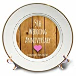 3dRose cp_154433_1 5th Wedding Wood Celebrating 5 Years Together Fifth Anniversaries Five Yrs Porcelain Plate, 8-Inch