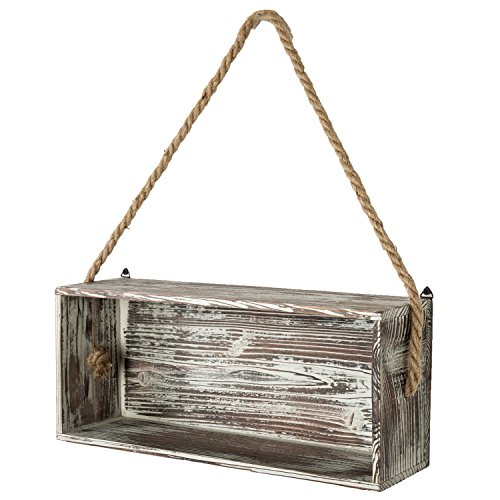 (MyGift Rustic Torch Wood Floating Shelf Box with Thick Hanging Rope, Decorative Shadow Box)