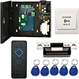 Single Door Complete TCP/IP Network Access Control Panel System Kits with 110V Power Supply Box + Electric ANSI Strike Lock+Reader+Exit+Key Fobs (Phone APP remotely Open door)