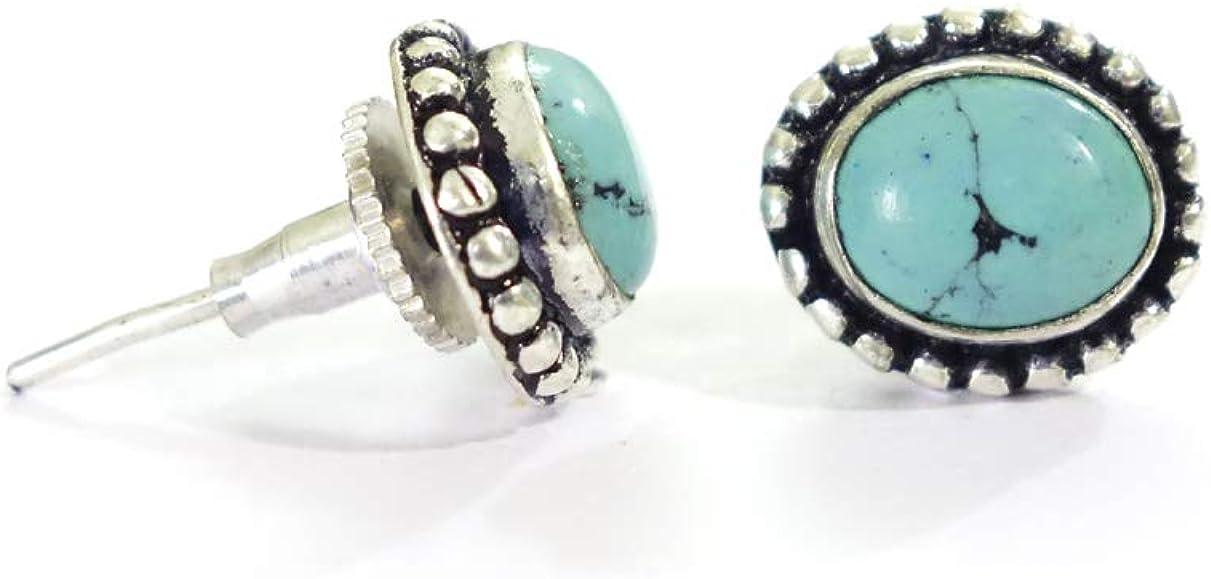 8 x 10 mm pendientes de piedra preciosa color turquesa pendientes de boho de color azul plata oxidado con cierres de presión hechos a mano por artesanos para mujeres y niñas pendientes ovalados de mod