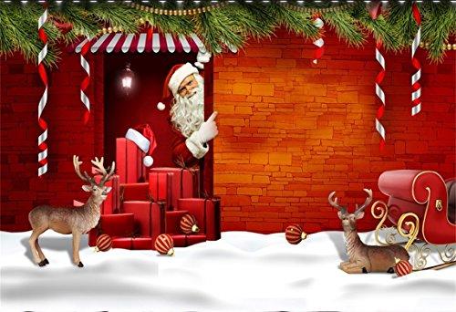 AOFOTO 7x5ft Christmas Backdrops Santa Claus Sleigh Reindeer Xmas Gifts Elk Photography Background Child Kid Portrait Snowfield 2019 Xmas New Year Photo Shoot Studio Props Drop Seamless Vinyl