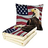 iPrint Quilt Dual-Use Pillow Eagle United States of America Flag with Symbol of The Country Looking into The Horizon Decorative Multifunctional Air-Conditioning Quilt Multicolor