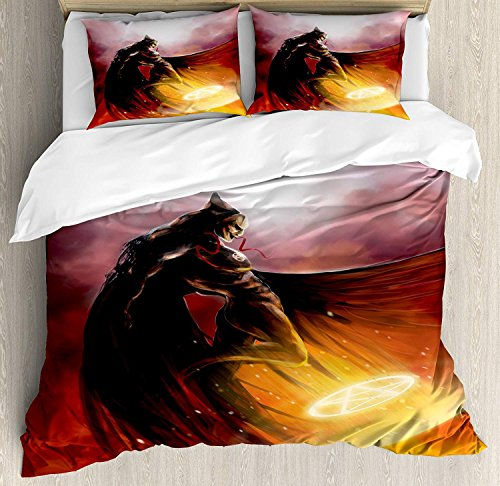 Heart Pain Fantasy World 3 Pieces Bedding Sets Duvet Cover, in His Original Costume Flying Up Magic Flame Save The World Theme, Comfortable (No Comforter), Yellow Red(Queen)