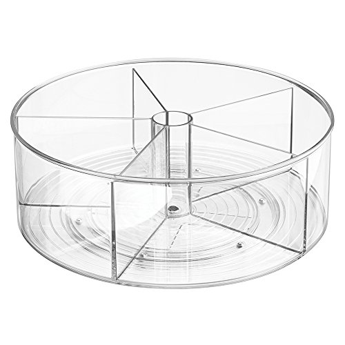 mDesign Divided Lazy Susan Turntable Storage Container for Kitchen Cabinets, Pantries, Refrigerator, Countertops - BPA Free & Food Safe – Spinning Organizer for Kids, Baby/Toddler, 5 Sections - Clear by mDesign (Image #4)