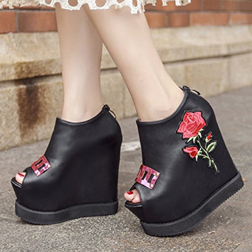 Easemax Womens Trendy Embroidered Flowers Peep Toe High Top Platform High Wedge Heel Zipper Pumps Shoes Black bawVPnI