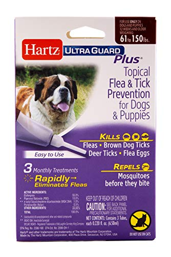 Hartz UltraGuard Plus Topical Flea & Tick Prevention for Dogs and Puppies – 61-150 lbs, 3 Monthly Treatments