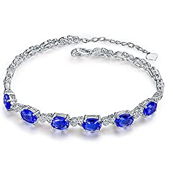 White Gold Genuine Tanzanite Diamond Bracelet