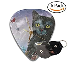 Xmas Clock Cat Leather Pick Holder Keychain - 351 Shape Classic Guitar Picks (6 Pack) For Electric Guitar, Acoustic Guitar, Mandolin, And Bass (0.46mm, 0.71mm, 0.96mm)