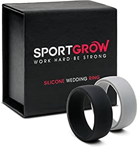 Silicone Wedding Ring (Band) for Men by SportGrow - 2 Rings Pack (Black+Grey) Size 9, Rubberized, Thin (2 mm), Premium Gift Box, For Hard-Working and Active People