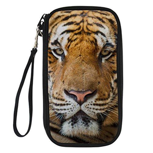 Clutch Tiger (KIDVOVOU Men Boy Travel Wallet RFID Blocking Credit Card Clutch Horse Print Bag with Removable Wristlet Strap)
