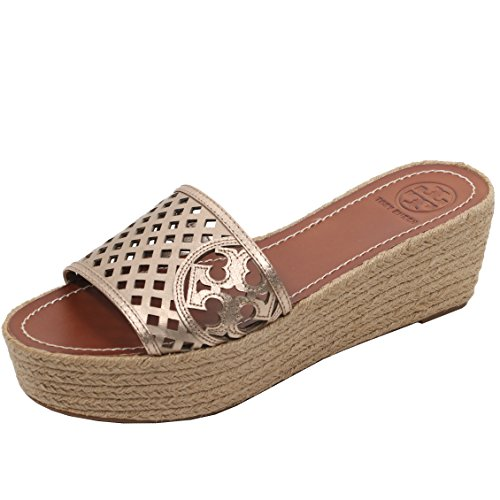 Tory Burch Thatched Wedge Perforated Flip Flop Sandal TB Log