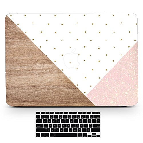 BIZCUSTOM Macbook Air 13/13.3 Case Triangle Wood Polka Dot Glitter Vein Marble Painting Hard Rubberized Full Body Matte Cover for MacBook Air 13 Model A1369/A1466 with Keyboard Cover (Wooden Dot)