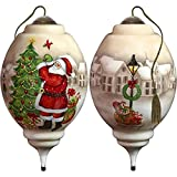 Ne'Qwa Art Hand Painted Blown Glass I'll Be Home for Christmas Santa Ornament, Multicolor