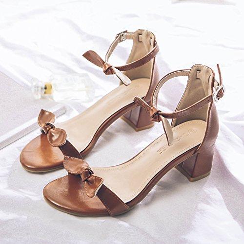 Fuit Qui Chaussures Simple SHOESHAOGE Avec Talon Femmes Talon Haut unie Couleur Sandales Bow D'Orteil q1Aw4