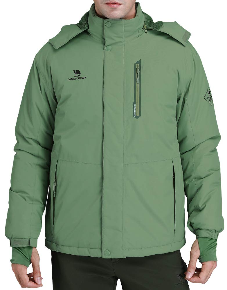 a9aa800cd6483 CAMEL CROWN Men s Mountain Snow Waterproof Ski Jacket Detachable Hood  Windproof Fleece Parka Rain Jacket Winter Coat Green L