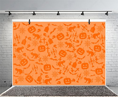 (Leyiyi 6x4ft Photography Background Happy Halloween Backdrop Pumpkin Lamp Witch Cap Widow Hat Cat Bat Spider Net Tomb Stone Cross Skull Costume Canival Wallpaper Photo Portrait Vinyl Studio)