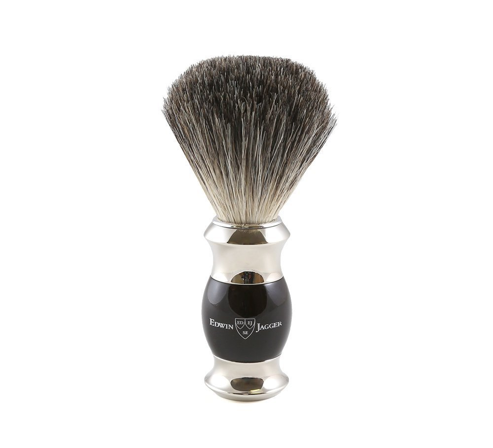 Edwin Jagger 81SB356 Simulated Ebony Pure Badger Hair Shaving Brush with Nickel Plated Collar and End Cap
