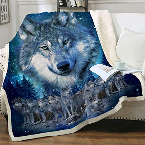 Sleepwish Blue Wolf Fleece Throw Blanket Winter Wolves Animal Comfy Reversible Blanket Lightweight Soft Thick Warm Blanket for Bed Couch Twin(60