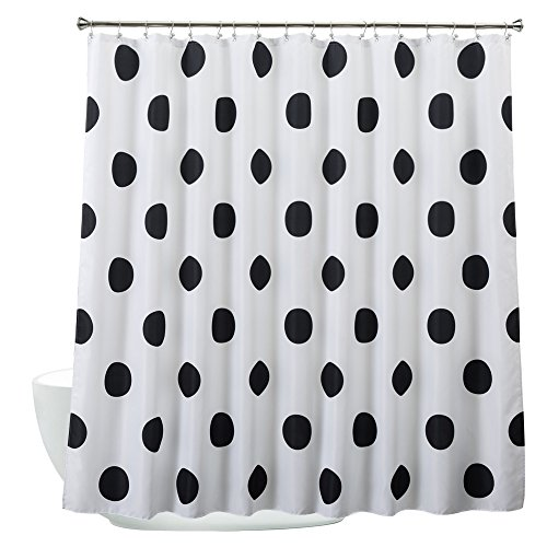 Aimjerry Polka Dot Washable Fabric Shower Curtain Mold Resistant Black and White,72 X 72in - Polka Dot Bathroom