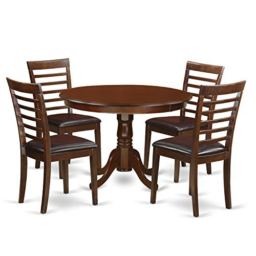 East West Furniture HLML5-MAH-LC 5 PC Hartland Set with One Round 42in Kitchen Table & Four Kitchen Chairs with Faux Leather Seat in a Beautiful Mahogany (Beautiful Dining Set)