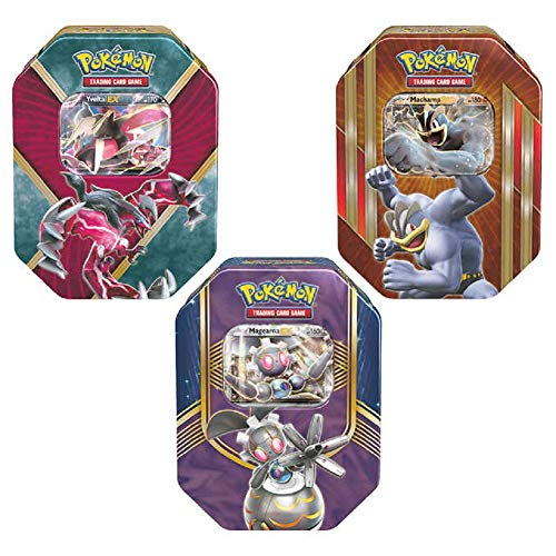 Pokemon Trading Card Game 3-Pack Tin with 4 TCG Booster Packs Plus 1 Bonus Code Card, Includes Machamp-EX Tin Yveltal-EX Tin and Magearna-EX Tin