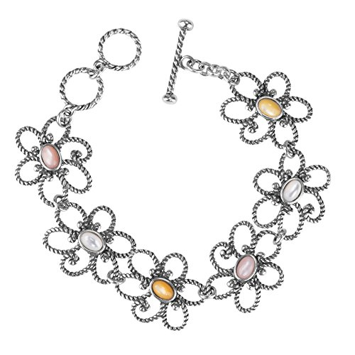 (Carolyn Pollack Sterling Silver Pink, Gold and White Mother of Pearl Gemstone Flower Toggle Bracelet Size Medium)