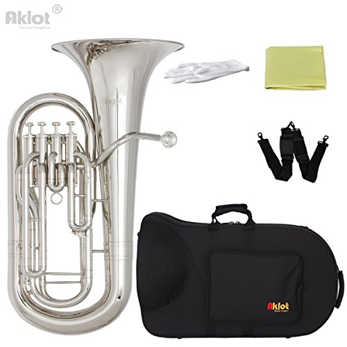 AKLOT Bb Euphonium 4 Valve Silver Plated Mouthpiece Nickel Plated Brass Body with Case by AKLOT
