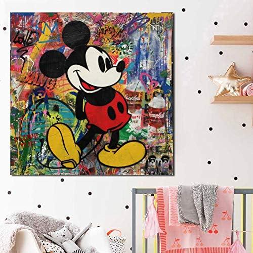 panggedeshoop Arte De La Pared Decoración del Hogar Lienzo Impreso Acuarela Mickey Mouse Pintura Moderna Sala De Estar Cuadros Modulares Pintura Sin Marco 40X50Cm (N: 0857)