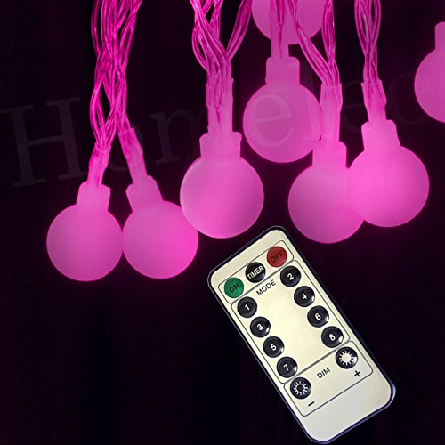 Homeleo Battery Operated Globe String Lights, 8 Lighting Modes Dimmable Remote Ball Fairy Light, Pink Mini LED Bulb String for Indoor Outdoor (Pink String Lights)