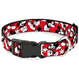 Buckle Down Plastic Clip Collar - Mickey Mouse Poses Scattered Red/Black/White - 1' Wide - Fits 9-15' Neck - Small