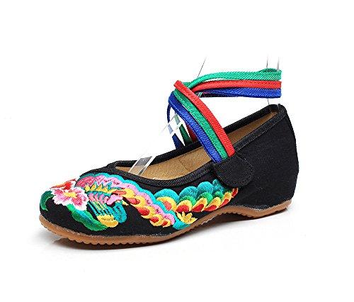 Casual Da Etnico Donna Dell'aumento Suola Tendina Stile A Black All'interno Scarpe Comodo Ming Moda Ricamate YwPw0