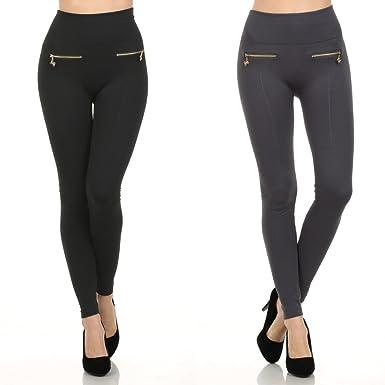 1bf64fd69d6c2c Fashion MIC Women's High Waist Fleece Leggings with Zipper Detail (One  Size, 2 pairs