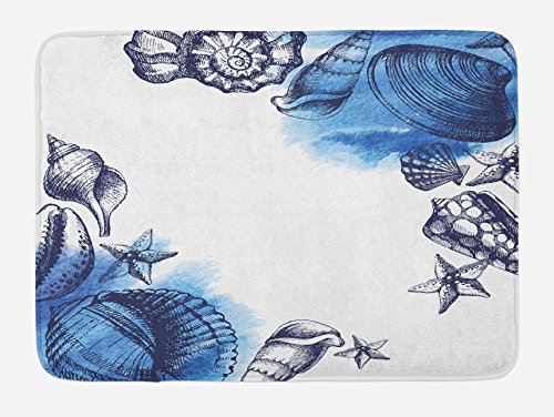 Ambesonne Ocean Bath Mat, Sealife Sea Shells and Sand Stones Deep Water Star Fish Blue Toned Design, Plush Bathroom Decor Mat with Non Slip Backing, 29.5 W X 17.5 L ()